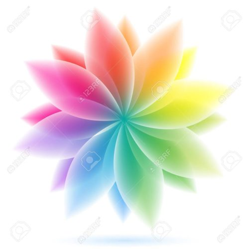 Vector illustration of abstract geometric rainbow flower. Clip-art
